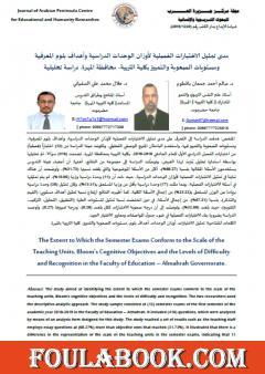 مدى تمثيل الاختبارت الفصلية لأوزان الوحدات الدراسية - محافظة المهرة